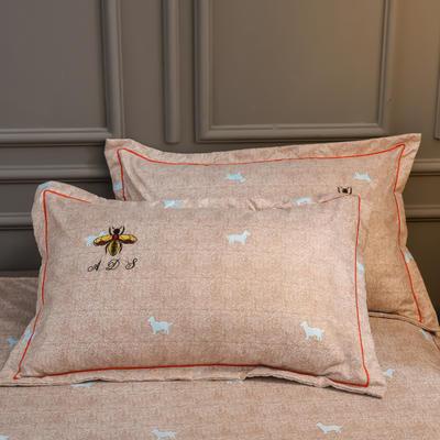 2019新款铂金棉绣花单枕套 48cmX74cm/对 卡洛斯-米驼