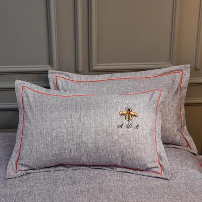 2019新款铂金棉绣花单枕套 48cmX74cm/对 卡洛斯-烟紫