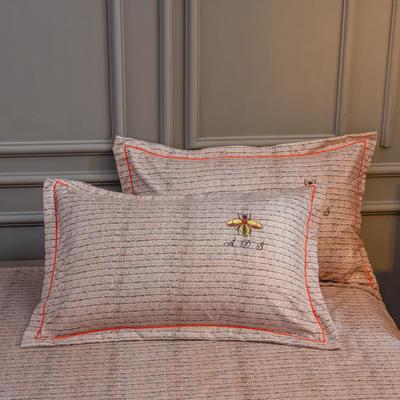 2019新款铂金棉绣花单枕套 48cmX74cm/对 卡洛斯-棕榈咖