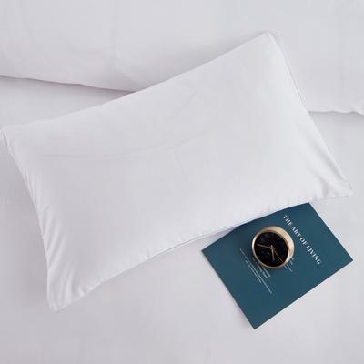 2019新款纯色双拼系列单品枕套 48cmX74cm/对 本白色