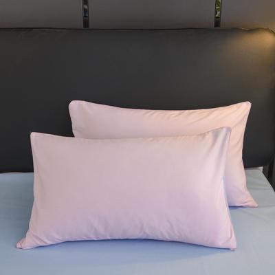 2019新款纯色双拼系列单品枕套 48cmX74cm/对 粉色蓝
