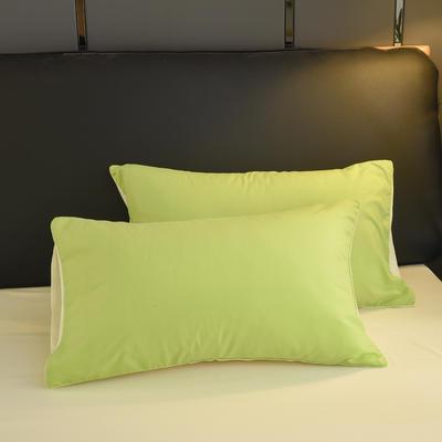 2019新款纯色双拼系列单品枕套 48cmX74cm/对 果绿米
