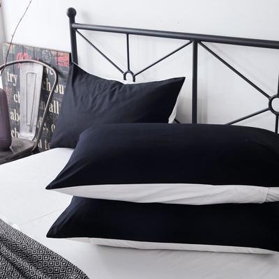 2019新款纯色双拼系列单品枕套 48cmX74cm/对 黑加白