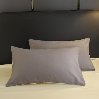 2019新款纯色双拼系列单品枕套 48cmX74cm/对 银灰米