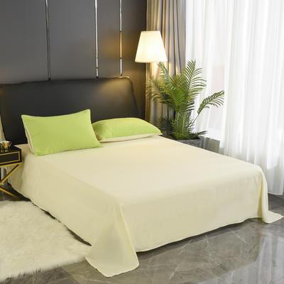 2019新款纯色双拼系列单品床单 160cmx230cm 果绿米
