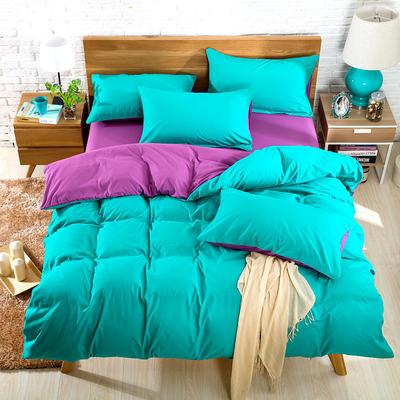 2019新款纯色双拼系列单品床单 160cmx230cm 湖绿茄