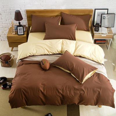 2019新款纯色双拼系列单品床单 160cmx230cm 米驼咖
