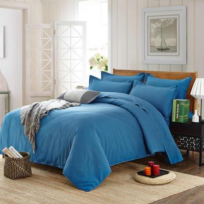 2019新款纯色双拼系列四件套 1.0m床单款三件套 纯色宝蓝