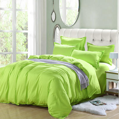 2019新款纯色双拼系列四件套 1.0m床单款三件套 纯色果绿