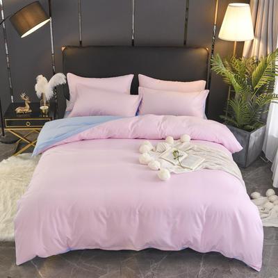 2019新款纯色双拼系列四件套 1.0m床单款三件套 粉色蓝
