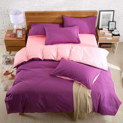 2019新款纯色双拼系列四件套 1.0m床单款三件套 魅紫玉