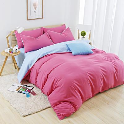 2019新款纯色双拼系列四件套 1.0m床单款三件套 胭脂蓝