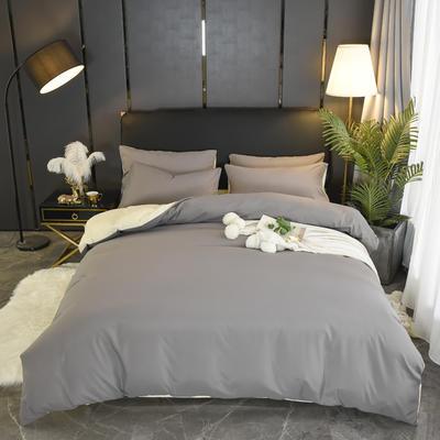 2019新款纯色双拼系列四件套 1.0m床单款三件套 银灰米