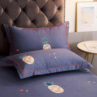2020新款21支加厚全棉生态磨毛系列单枕套 48cmX74cm/对 菠萝派-蓝