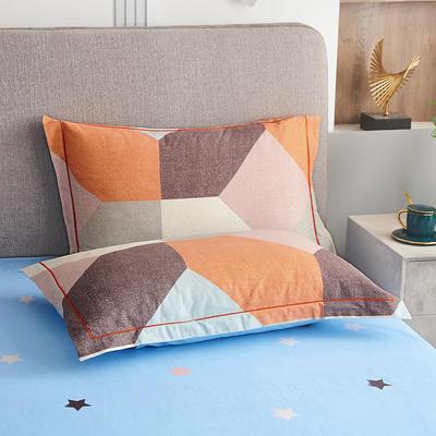 2020新款21支加厚全棉生态磨毛系列单枕套 48cmX74cm/对 多彩阁-桔