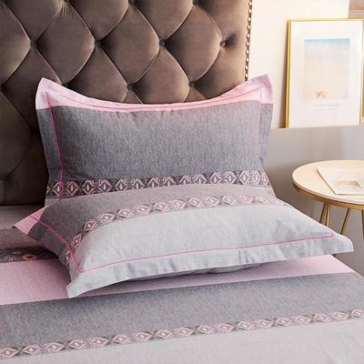 2020新款21支加厚全棉生态磨毛系列单枕套 48cmX74cm/对 粉身灰面