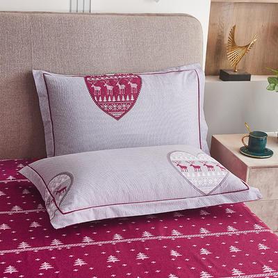 2020新款21支加厚全棉生态磨毛系列单枕套 48cmX74cm/对 花语浪漫