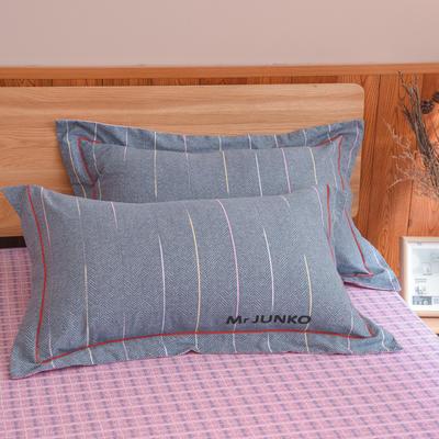 2020新款21支加厚全棉生态磨毛系列单枕套 48cmX74cm/对 翩翩彩带
