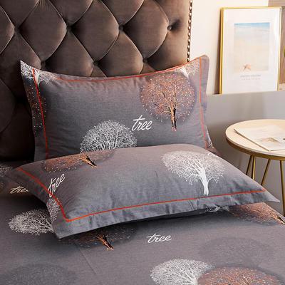 2020新款21支加厚全棉生态磨毛系列单枕套 48cmX74cm/对 许愿树-灰