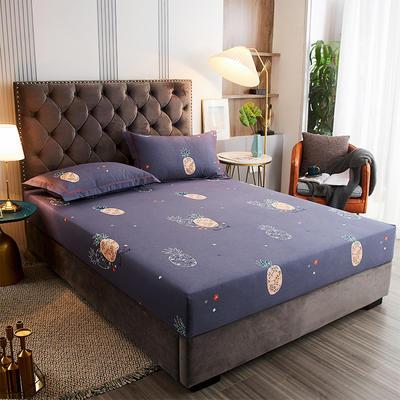 2020新款21支加厚全棉生态磨毛系列单床笠 150cmx200cm 菠萝派-蓝