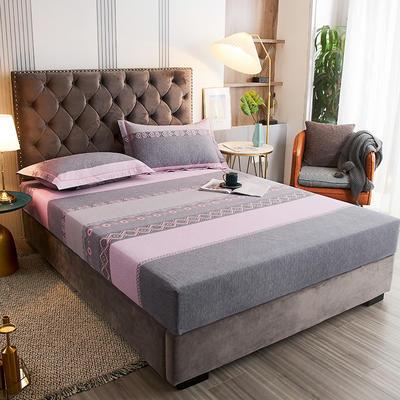 2020新款21支加厚全棉生态磨毛系列单床笠 150cmx200cm 粉身灰面