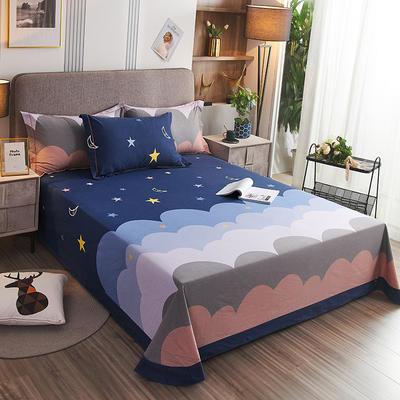 2020新款21支加厚全棉生态磨毛系列单床单 250*250cm圆角包边床单 安妮