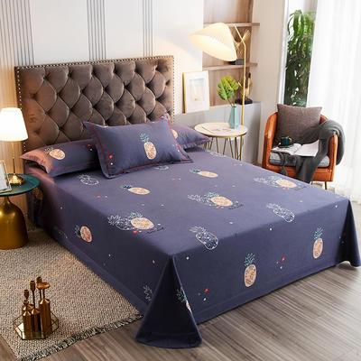 2020新款21支加厚全棉生态磨毛系列单床单 250*250cm圆角包边床单 菠萝派-蓝