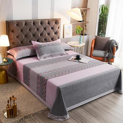 2020新款21支加厚全棉生态磨毛系列单床单 250*250cm圆角包边床单 粉身灰面