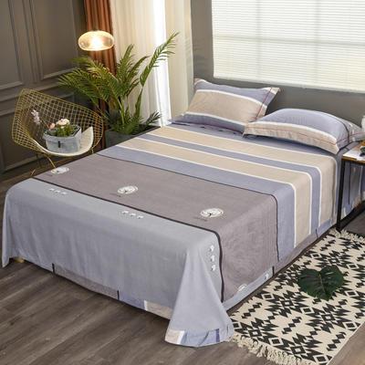 2020新款21支加厚全棉生态磨毛系列单床单 250*250cm圆角包边床单 棉花朵朵