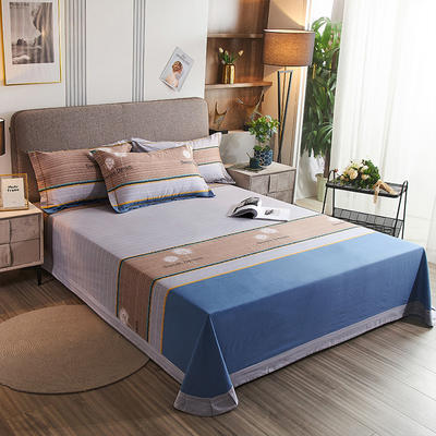 2020新款21支加厚全棉生态磨毛系列单床单 250*250cm圆角包边床单 蒲公英