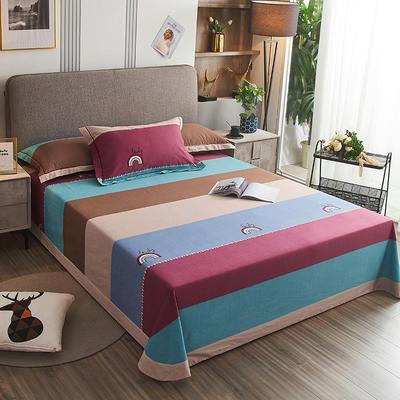 2020新款21支加厚全棉生态磨毛系列单床单 250*250cm圆角包边床单 幸运彩虹