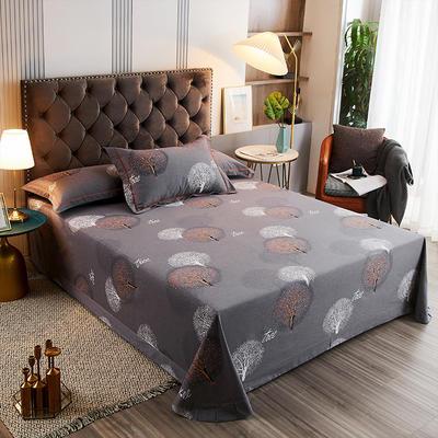 2020新款21支加厚全棉生态磨毛系列单床单 250*250cm圆角包边床单 许愿树-灰