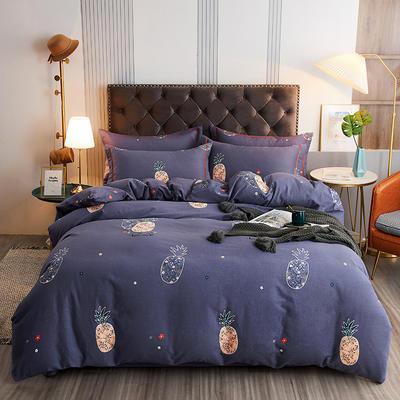 2020新款21支加厚全棉生态磨毛系列四件套(单品均可售) 1.5m床单款四件套 菠萝派-蓝
