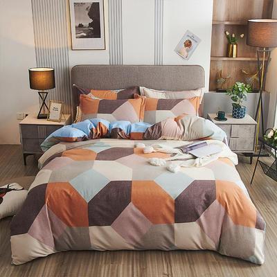 2020新款21支加厚全棉生态磨毛系列四件套(单品均可售) 1.5m床单款四件套 多彩阁-桔