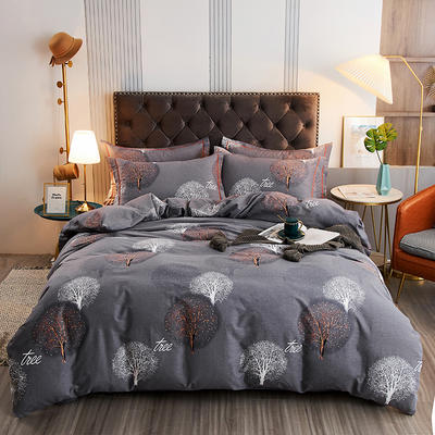 2020新款21支加厚全棉生态磨毛系列四件套(单品均可售) 1.5m床单款四件套 许愿树-灰
