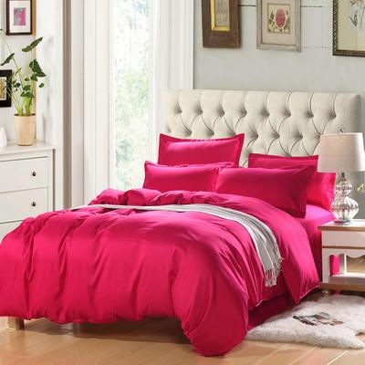 2019新款纯色双拼系列四件套 1.2m床单款四件套 纯色玫红