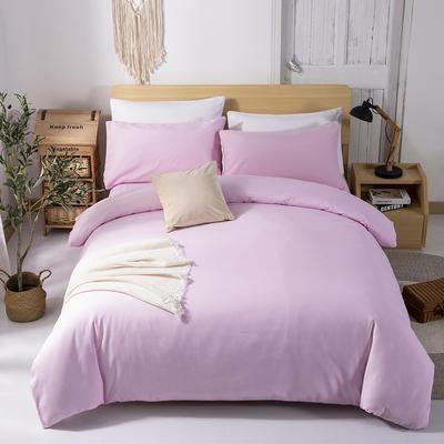 2019新款纯色双拼系列四件套 1.2m床单款四件套 粉色