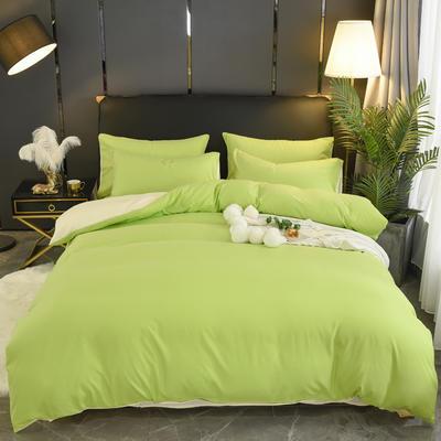 2019新款纯色双拼系列四件套 1.2m床单款四件套 果绿米