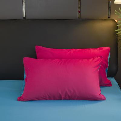 2019新款纯色双拼系列单品枕套 48cmX74cm/对 玫红蓝
