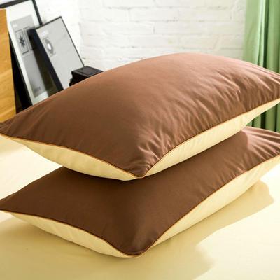 2019新款纯色双拼系列单品枕套 48cmX74cm/对 米驼咖
