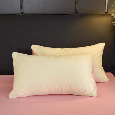 2019新款纯色双拼系列单品枕套 48cmX74cm/对 奶白玉