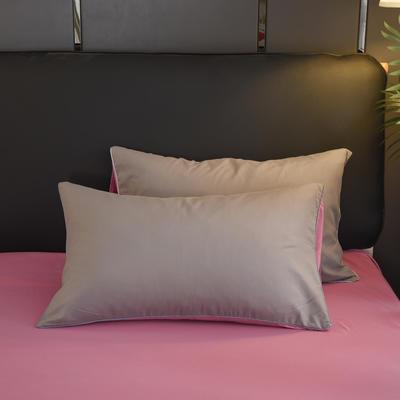 2019新款纯色双拼系列单品枕套 48cmX74cm/对 胭脂灰