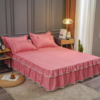2020新款铂金棉床裙系列单床裙 150cmx200cm 卡洛斯-石榴红