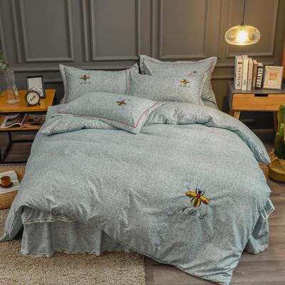 2020新款铂金棉床裙系列四件套 1.8m床单款四件套 卡洛斯-嫩绿