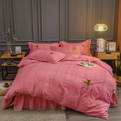 2020新款铂金棉床裙系列四件套 1.8m床单款四件套 卡洛斯-石榴红