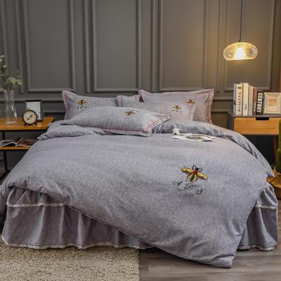 2020新款铂金棉床裙系列四件套 1.8m床单款四件套 卡洛斯-烟紫
