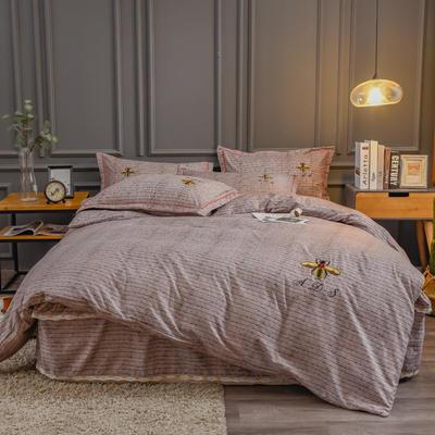 2020新款铂金棉床裙系列四件套 1.8m床单款四件套 卡洛斯-棕榈咖