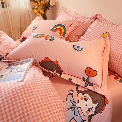 2021新款加厚全棉印花系列单枕套 48cmX74cm/对 辫子女孩-粉格