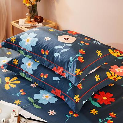 2021新款加厚全棉印花系列单枕套 48cmX74cm/对 花町物语-米白