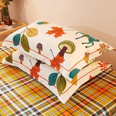 2021新款加厚全棉印花系列单枕套 48cmX74cm/对 可爱鹿西 米白